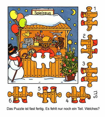 Weihnachtsrätsel, Suchbild, Bär in einer Weihnachtsmarktbude, Puzzle, Bilderrätsel