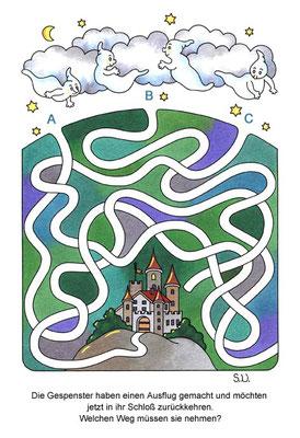 Labyrinth mit Gespenstern und Schloss, Bilderrätsel