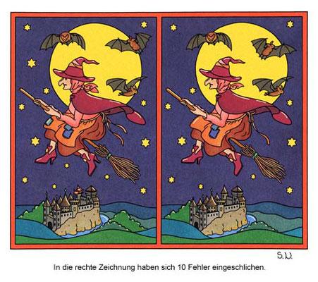 Fehlersuchbild, Hexe reitet auf einem Besen durch die Nacht, Bilderrätsel