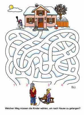 Labyrinth mit Kindern und einem Haus, Winter, Bilderrätsel