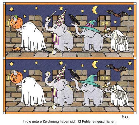 Fehlersuchbild, Elefanten feiern Halloween, Bilderrätsel