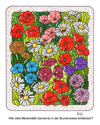 Suchbild, Blumenwiese mit Marienkäfern, Bilderrätsel