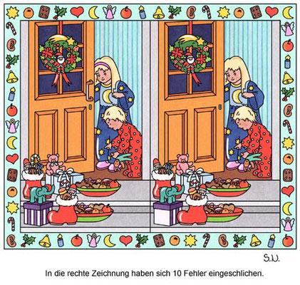 Fehlersuchbild, Kinder mit Nikolausgeschenken, Bilderrätsel