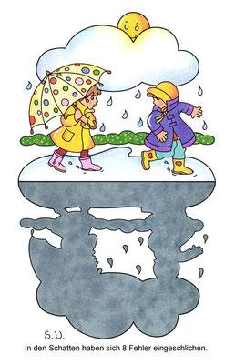 Fehlersuchbild, Kinder mit Schirm und Pfütze, Schatten, Bilderrätsel
