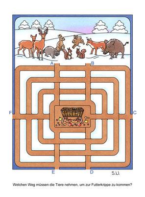 Labyrinth mit Tieren und einer Futterkrippe, Bilderrätsel