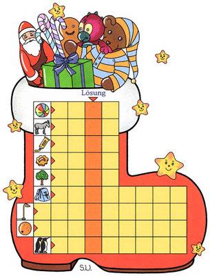 Weihnachtsrätsel, Worträtsel in einem Nikolausstiefel, Bilderrätsel