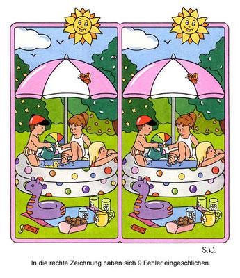 Fehlersuchbild, Kinder im Planschbecken mit Sonnenschirm, Bilderrätsel