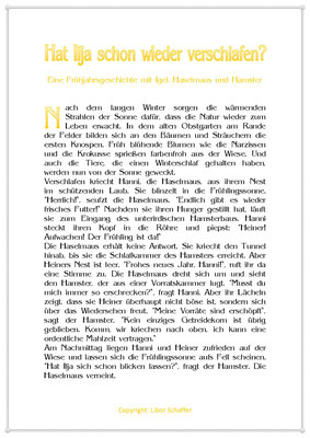 Hat Ilja schon wieder verschlafen?, Eine Frühlingsgeschichte mit einem Igel, einer Haselmaus und einem Hamster, Seite 1