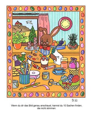 Osterrätsel, Suchbild, Osterhase bei der Arbeit, Bilderrätsel