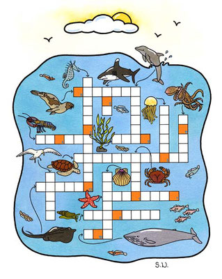 Kreuzworträtsel mit Meerestieren, Bilderrätsel