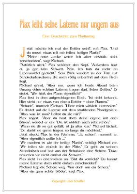 Max leiht seine Laterne nur ungern aus, Eine Geschichte für Kinder zum Martinstag, Seite 1