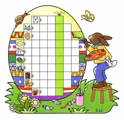 Osterrätsel, Worträtsel in einem Ei mit Osterhase, Bilderrätsel