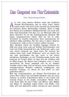 Das Gespenst von Neu-Entenstein, Eine Gespenstergeschichte für Kinder, Seite 1