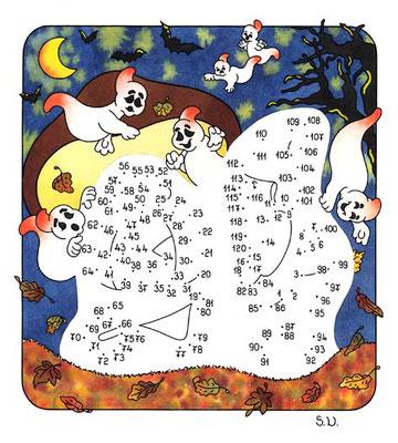 Malen nach Zahlen, Gespenster in der Nacht, Halloween, Bilderrätsel, Punkte verbinden
