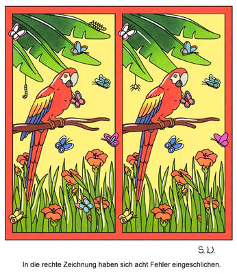 Fehlersuchbild, Papagei mit Schmetterlingen, Bilderrätsel