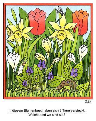 Suchbild, Tiere verstecken sich in einem Blumenbeet, Bilderrätsel
