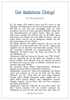 Der lilafarbene Eintopf, Eine Hexengeschichte für Kinder, Seite 1
