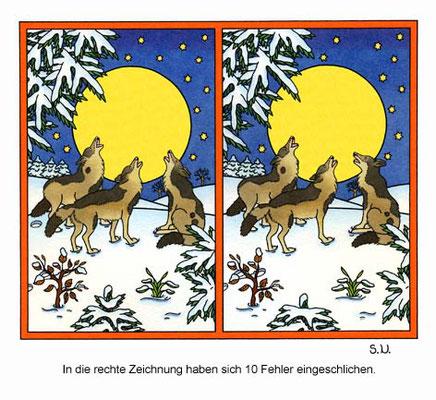 Fehlersuchbild, Wölfe heulen vor einem Mond bei Nacht, Winter, Bilderrätsel