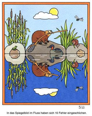 Fehlersuchbild, Biber am Fluss, Bilderrätsel