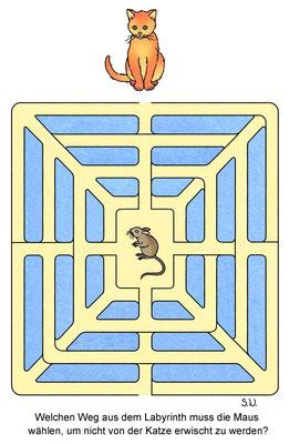 Labyrinth, Maus soll sich vor Katze in Sicherheit bringen, Bilderrätsel