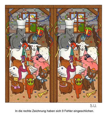 Fehlersuchbild, Tiere im Stall mit Karnevalskostümen, Fasching, Bilderrätsel