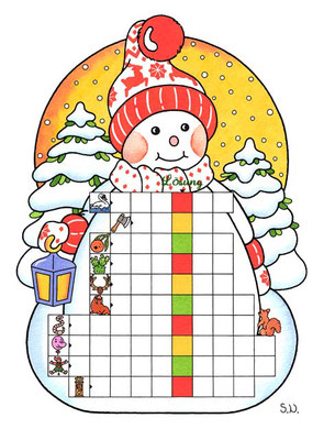 Worträtsel in einem Schneemann, Winter, Bilderrätsel