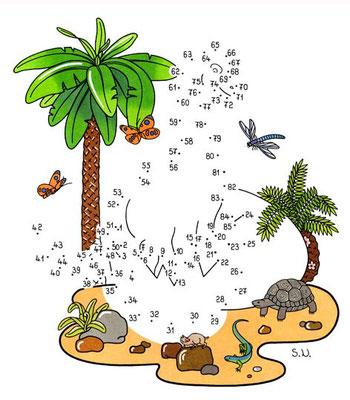 Malen nach Zahlen, Dinosaurier mit Ei, Bilderrätsel, Punkte verbinden