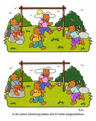 Fehlersuchbild, Bären spielen Fußball, Bilderrätsel