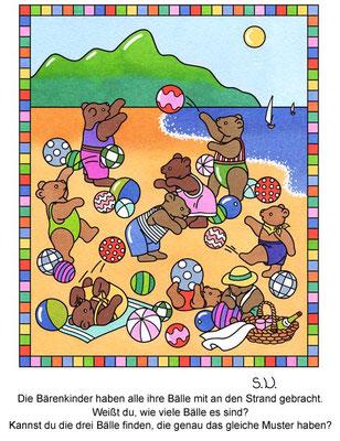 Suchbild, Bären spielen mit Bällen am Strand, Bilderrätsel