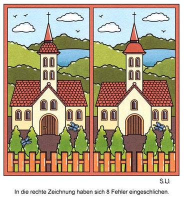 Fehlersuchbild mit einer Kirche, Bilderrätsel