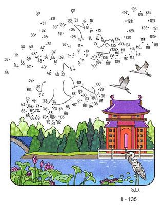 Malen nach Zahlen, Drache über See, Bilderrätsel, Punkte verbinden