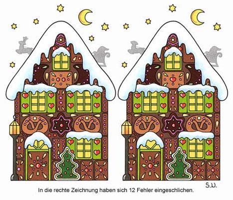 Weihnachtsrätsel, Fehlersuchbild, Lebkuchenhaus, Bilderrätsel