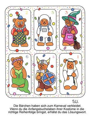 Worträtsel mit Bären in Karnevalskostümen, Fasching, Bilderrätsel