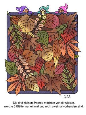 Suchbild, Herbstlaub mit Zwergen, Bilderrätsel