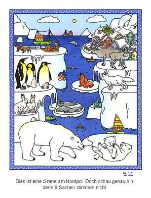 Suchbild am Nordpol mit Tieren und Eisschollen, Winter, Bilderrätsel
