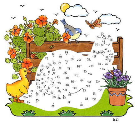 Malen nach Zahlen, Schnecke mit Blumen und Tieren, Bilderrätsel, Punkte verbinden