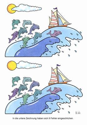Fehlersuchbild, Welle mit Delfinen und Segelschiff, Bilderrätsel