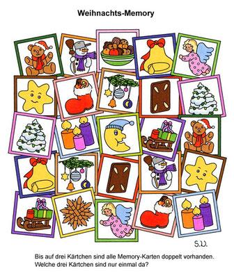 Weihnachtsrätsel, Memory, Suchbild, Bilderrätsel