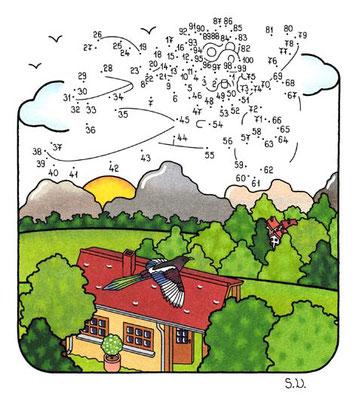 Malen nach Zahlen, Flieger mit Landschaft, Bilderrätsel, Punkte verbinden