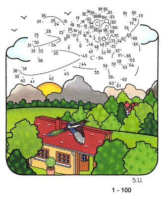 Malen nach Zahlen, Flieger über Landschaft, Bilderrätsel, Punkte verbinden
