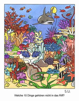 Suchbild, Korallenriff mit Hai, Bilderrätsel