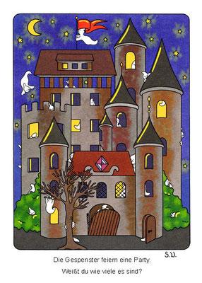 Suchbild, Gespenster im Schloss, Bilderrätsel
