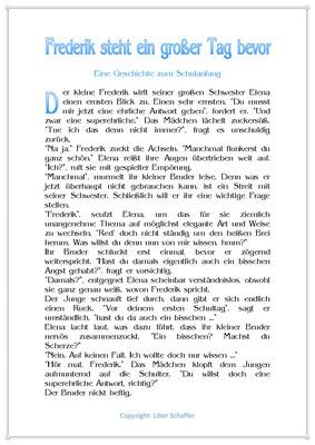 Frederick steht ein großer Tag bevor, Eine Kindergeschichte zum Schulanfang, Seite 1