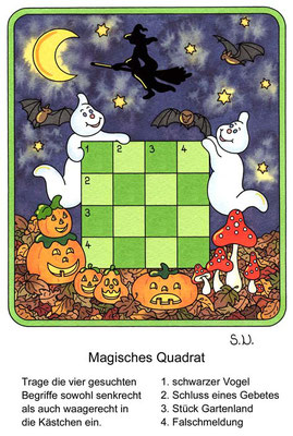 Magisches Quadrat, Gespenster mit Kürbissen, Halloween, Bilderrätsel