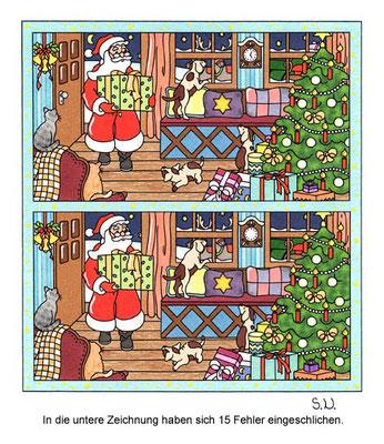 Weihnachtsrätsel, Fehlersuchbild, Weihnachtsmann bringt Geschenke, Bilderrätsel