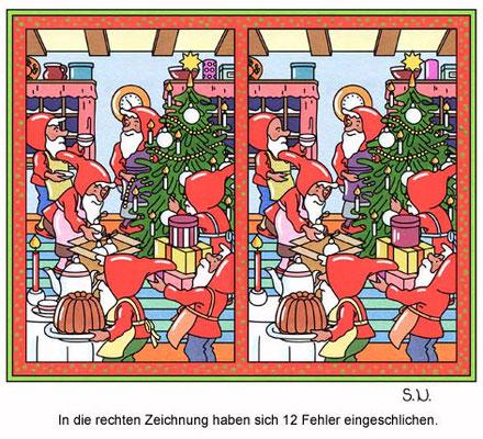 Fehlersuchbild, Wichtel feiern Weihnachten, Bilderrätsel