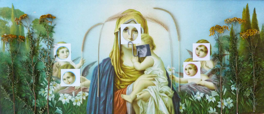 """KunstBEGEGNUNG: """"Bearbeitete Maria"""" BiToWoCo CollagenLeinWandBild 2018"""