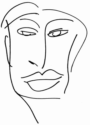 """KunstBEGEGNUNG: """"uncoloured face"""" Zeichnung/Kopienbild/Serie 1998"""