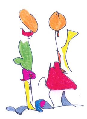 """KunstBEGEGNUNG: """"coloured lines"""" Zeichnung/Kopienbild/Serie 1998"""
