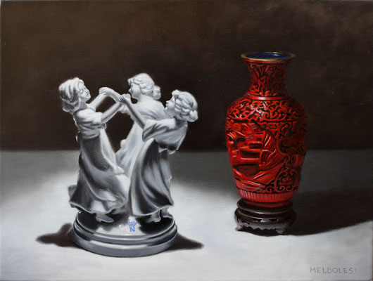 """""""Croce Rossa"""" - oil on linen - 40 x 30 cm (Augmented reality app Artivive)"""